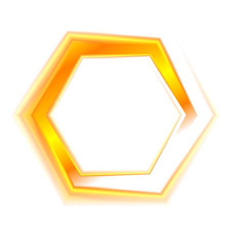 hexagon: Orange hexagon emblem for web design. Illustration