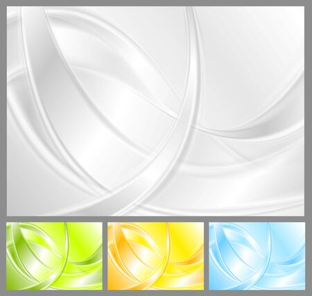 green backgrounds: Abstract waves backgrounds collection. Vector graphic design Illustration