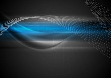 Dark abstract wavy background. Vector design Illustration