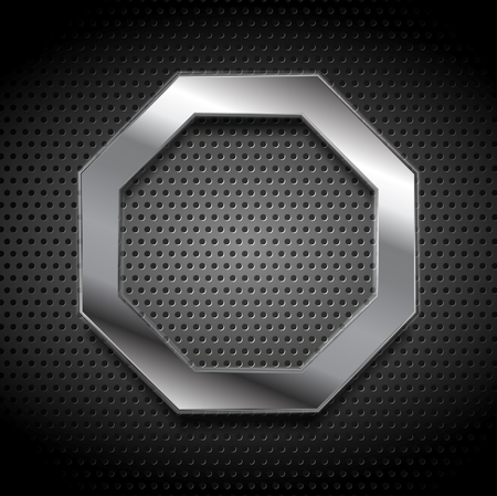 Metal octagon logo on perforated background. Vector design