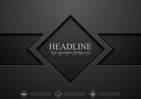 Tech black concept corporate abstract design. Vector background