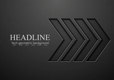 Tech black arrows background. Vector illustration