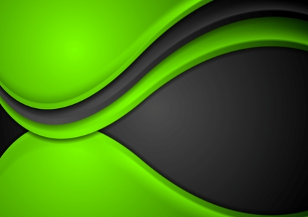 background cover: Green black abstract wavy background. Vector design