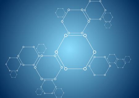 vector  molecular: Molecular structure abstract tech background. Bright vector medical design