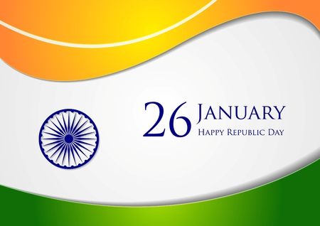26 january: Wavy background. Colors of India. Republic Day 26 January vector design