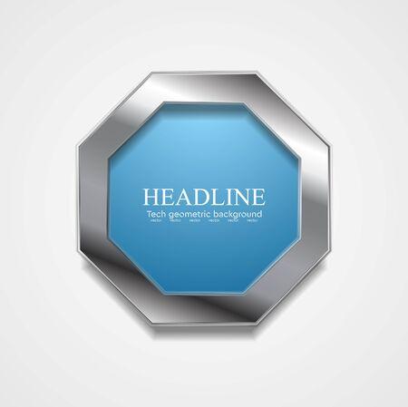 logo element: Blue octagon design with metal frame. Vector design