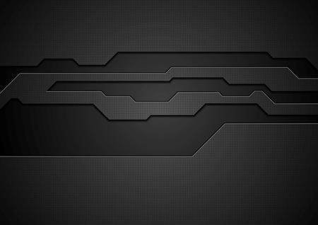 抽象的な黒い技術企業のデザイン。ベクトルの背景