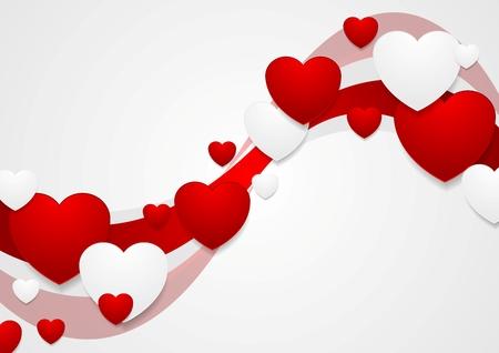 gradient background: Wavy red and grey Valentine Day background. Vector graphic design Illustration