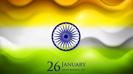 26 january: Smooth waves background. Colors of India. Republic Day 26 January vector design