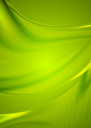 web design background: Abstract bright green background with smooth waves. Vector blurred illustration for web or print design