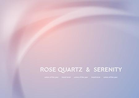 滑らかな波と未来的なベクトル イラスト。2016 年ローズ クオーツと安らぎのトレンド色。モダンな曲線の背景