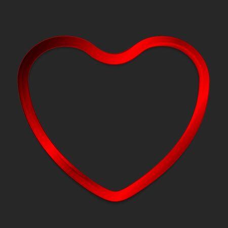 glow in the dark: Red metal glow heart on dark background. Vector design