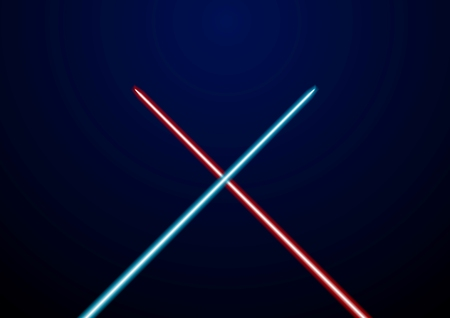saber: Red and blue glowing light swords. Vector illustration