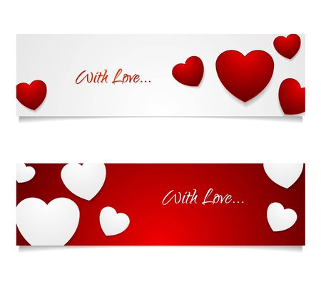 hearts background: Valentine Day graphic design illustration. White and red web banners with contrast color hearts. Vector greeting card background