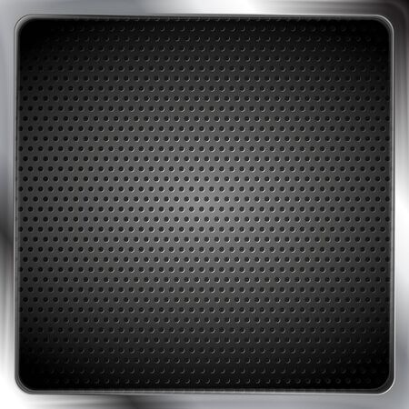 perforated: Abstract metallic silver frame with perforated texture. Vector background steel framework. Dark grey color design