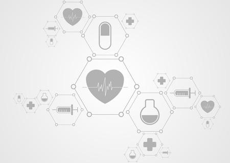 Gesundheit grau-Tech-Hintergrund und medizinische Symbole. Vector science design Vektorgrafik