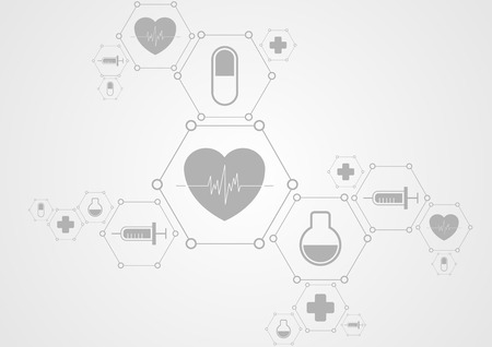 Health grey tech background and medical icons. Vector science design