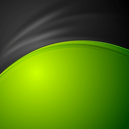 smooth: Contrast green and black abstract wavy background. Vector smooth curves graphic design illustration