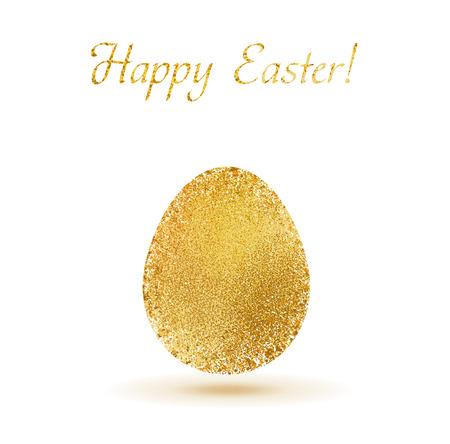 gold egg: Gold egg sparkles on white background. Gold glitter vector design for easter celebration event