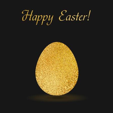 gold egg: Gold egg sparkles on black background. Gold glitter vector design for easter celebration event