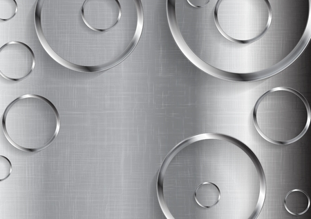 chrome: Metal tech abstract texture with circles. Vector technology background