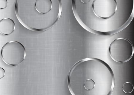 cromo: tecnología textura del metal abstracto con círculos. la tecnología de fondo vector
