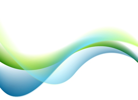 Green and blue waves on white background. Smooth colorful wavy vector graphic design