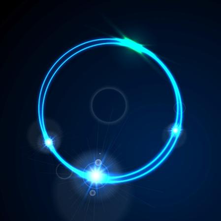 Glow niebieski neon jasny pierścień lśniące tło. efekt energia logo vector design