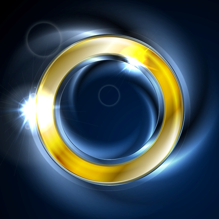 iridescent: Blue and golden iridescent round logo vector design. Glowing effect and lens flare sparks on neon ring