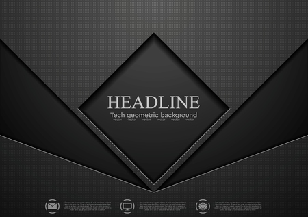 Tech black concept corporate abstract graphic design. Vector background Çizim