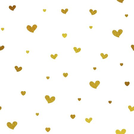 paper graphic: Gold glitter background with hearts. Vector seamless graphic design for web, print use, wrapping paper. Valentine Day illustration