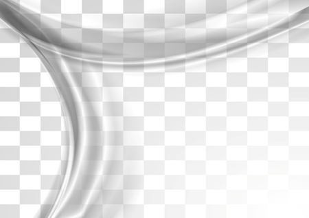wavy background: Grey smooth blurred transparent waves design. Vector background Illustration