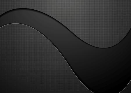 Black concept wavy background. Vector dark graphic design