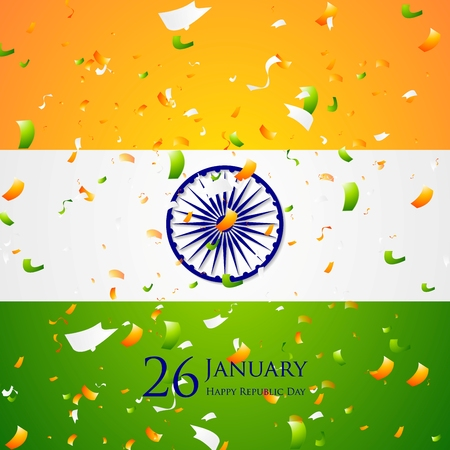 26 january: Bright confetti on Indian flag background. Republic Day 26 January vector design