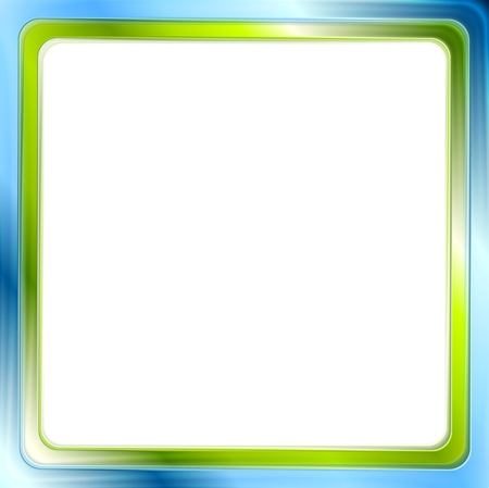 background frame: Blue and green bright frame on white background. Vector graphic design Illustration
