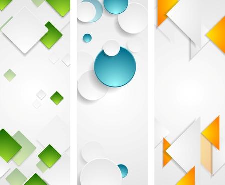 vertical: Banderas verticales geométricas de tecnología brillante. Ilustración del vector