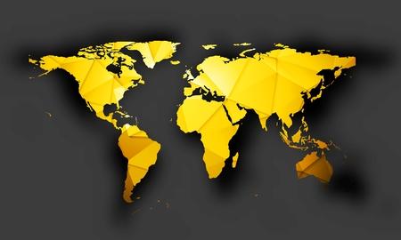 Bright orange polygonal world map with shadow on dark background. Vector graphic design