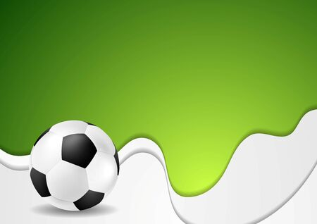 Green wavy soccer background with ball. Vector graphic sport design Illustration