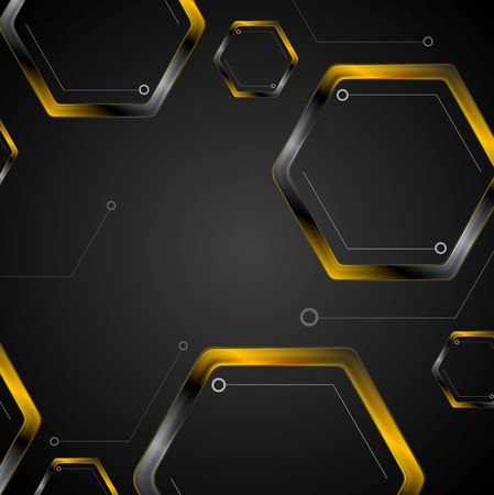 technical background: Dark tech background with black orange hexagons. Vector illustration