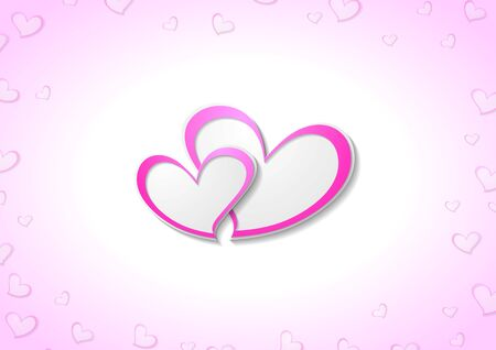 purple heart: Pink hearts abstract Valentine Day background. Vector graphic design