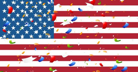 president's day: Presidents Day abstract USA flag colors background with confetti. Vector graphic design