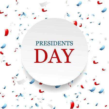 president's: Presidents Day abstract USA colors confetti background. Vector graphic design