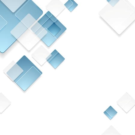 shiny background: Abstract geometric tech blue squares graphic design. Vector template background