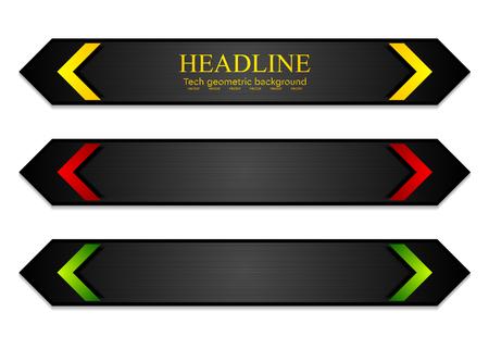 vector arrows: Tech corporate dark banners with bright arrows. Vector template design