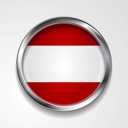 austrian flag: Abstract vector button with metallic frame. Austrian flag