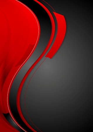 contrast: Bright contrast red black wavy background. Vector graphic design