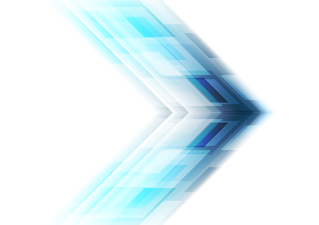 Blue arrow tech background. Vector template graphic design