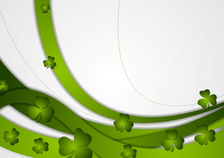clovers: Green waves and clovers shamrocks corporate background. St. Patrick Day vector design