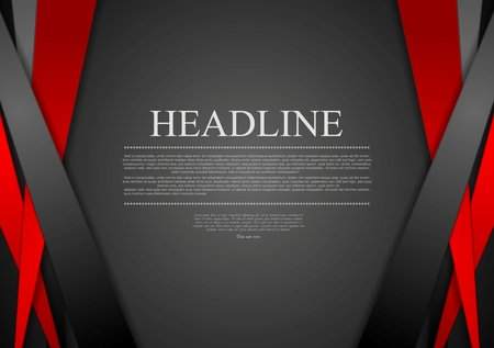 Black and red corporate tech striped graphic design. Vector background