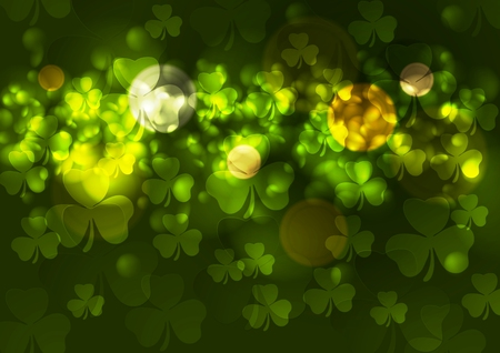 patrick backdrop: Green blurred bokeh background with clovers. St. Patrick Day vector design